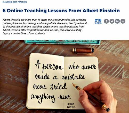 Online Teaching Lessons from Einstein